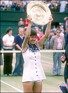 Navratilova celebrates her first singles title in 1978, but she had already won a women's doubles title in 1976