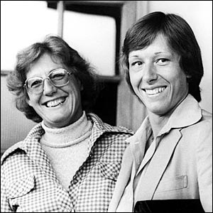 Navratilova is joined by her mother Jana at the 1979 Wimbledon Championships - the first time she had been allowed out of the former Czechoslovakia