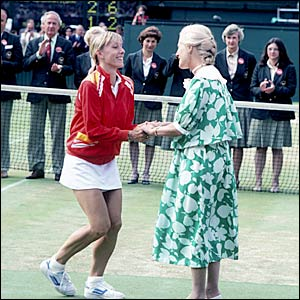Navratilova curtseys in front of the Duchess of Kent as she wins her third singles title in 1982