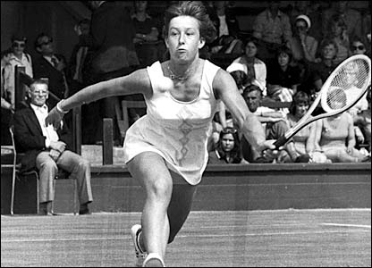 Navratilova in action at Wimbledon in the 1975 Championships when she reached the quarter-finals