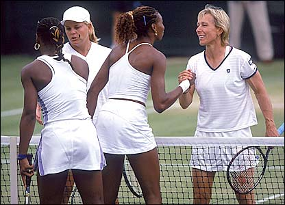 Navratilova partners Mariaan de Swardt in the women's doubles at the 2000 Championships