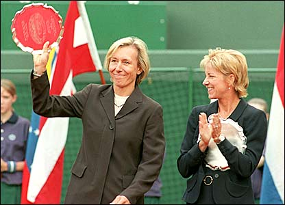 The retired Navratilova returns in 1997 to receive an award in recognition of her incredible Wimbledon career
