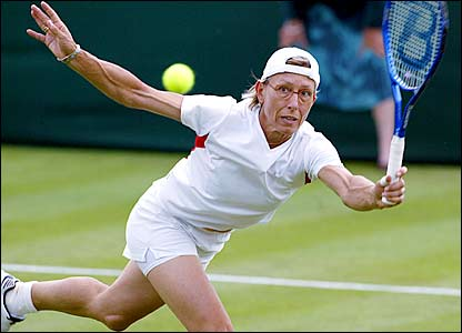 Navratilova beats Catalina Castano in the singles in 2004 before losing in the second round