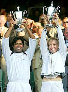 Navratilova wins her 20th Wimbledon title in the mixed doubles alongside Leander Paes in 2003