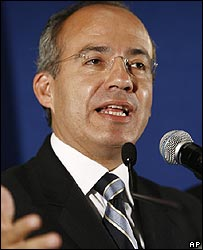 Mexican presidential election winner Felipe Calderon