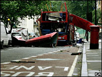 The bus wreckage in Tavistock Square