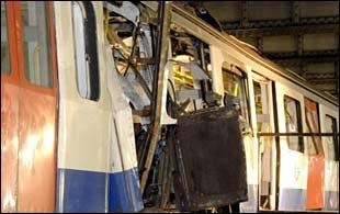 Tube train damaged by blast