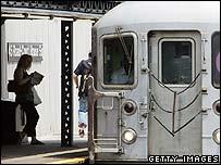 New York subway train at a station
