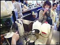 Japanese woman drinking coffee in Tokyo