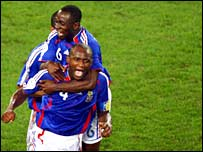 Patrick Vieira celebrates his goal against Togo