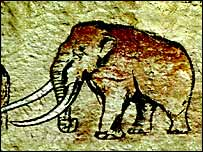Pintura rupestre de un mamut