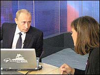 Vladimir Putin with Bridget Kendall