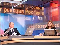 Russian President Vladimir Putin with the BBC's Bridget Kendall