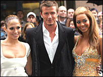 David Beckham with Jennifer Lopez and Beyonce Knowles