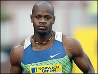 Asafa Powell pictured equalling the 100m world record in Gateshead