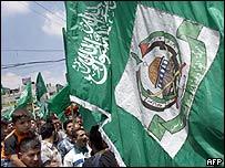 Manifestantes palestinos.