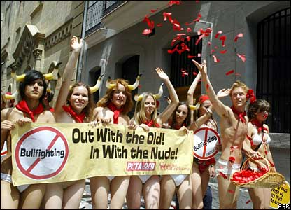 Animal rights activists demonstrate half naked against the bullfights