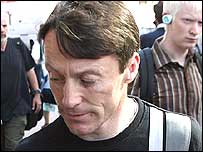 Kieren Fallon arrives at Bishopsgate Police Staion on Monday
