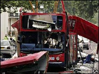 Number 30 bus destroyed by a bomb in Tavistock Sqaure (Photo: Peter Macdiarmid/PA)