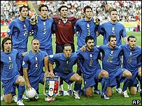 El equipo de f�tbol de Italia