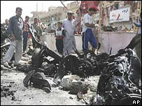 Aftermath of a car bomb in Iraq