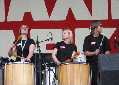 About a dozen drummers took to the stage as part of a bid to set a new world record for the number of drummers playing simultaneously round the country to back the campaign against international trade