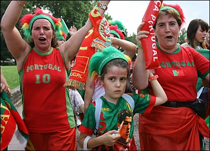 Portugal fans make their way to the stadium