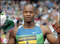 Asafa Powell looks under whelmed by his victory in Paris