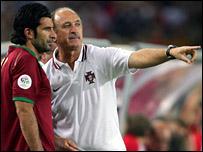 Luis Figo and Luiz Felipe Scolari