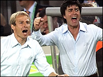 Germany coach Jurgen Klinsmann and assistant coach Joachim Loew