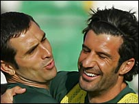 Portugal winger Luis Figo and striker Pauleta