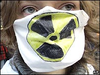 Woman protesting against nuclear power