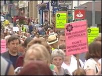 The march in Aberystwyth