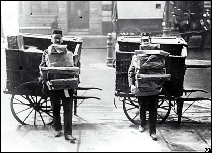 1883: postal workers using handcarts to transport burgeoning loads, as the introduction of Parcels Post in August of that year meant that the volume of mail increased