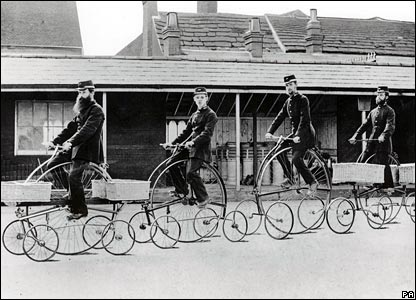 1880: postal workers using five wheeled centre-cycles in Horsham, Sussex - the experiment was deemed a failure and they never entered wider service