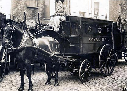 1914: one of the women employed to drive the horse-drawn mail vans during World War l