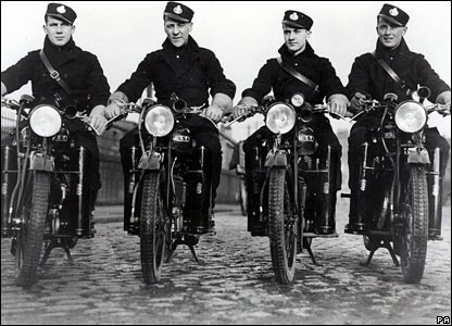 1924: postal workers using 125cc motorcycles for the first time