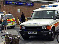 Police at Highbury and Islington station