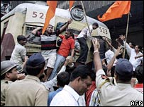 Shiv Sena supporters protest