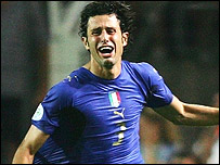 Fabio Grosso celebrates his goal for Italy in the semi-final against Germany