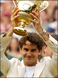Roger Federer is getting accustomed to lifting the Wimbledon trophy