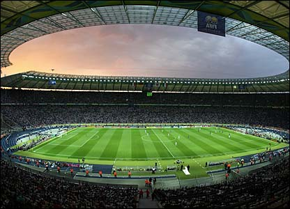 The sun sets over the Olympiastadion in Berlin