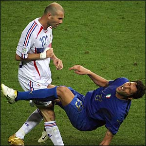 Zinedine Zidane headbutts Marco Materazzi in the chest