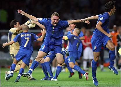 The Italy team celebrate winning the World Cup