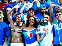 Italy fans celebrate at the Olympic Stadium in Berlin