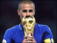 Italy captain Fabio Cannavaro with the World Cup trophy