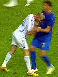 Zinedine Zidane headbutts Marco Materazzi in the final
