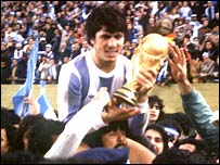 Argentina captain Daniel Passarella holds aloft the World Cup trophy in 1978
