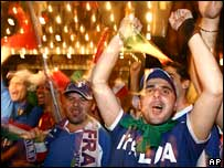 Fans celebrate Italy's World Cup win outside the team hotel in Berlin