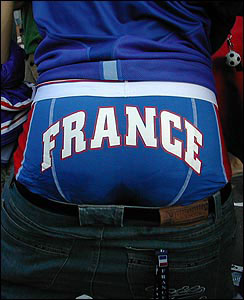 A fan shows his support with France underpants